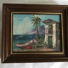 Tablou pictat pe panza cu rama din lemn barca - Pictor strain, Istorice, Ulei, Art Deco