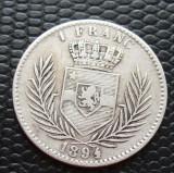 M. 1 franc 1894 Congo Belgia, tiraj 70.000 buc, argint, Africa