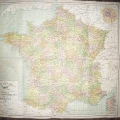 Harta noua Administrativa a Frantei 1927 - hartie panzata, dim.=62, 5x54, 7 cm