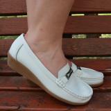 Pantof din piele naturala, de calitate si comod, de culoare alba (Culoare: ALB, Marime: 38)