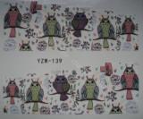 Tatuaj transfer pe baza de apa sticker pentru unghii  Bufnita YZW 139
