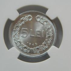 5 lei 1949 NGC MS64 - Moneda Romania
