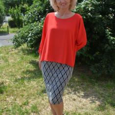 Rochie fashion cu aspect de costum, bluza lejera rosie, fusta conica (Culoare: ROSU, Marime: 48)