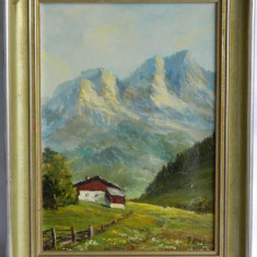Pictura ulei pe panza CABANA DE PE MUNTE, semnata si inramata / tablou - Pictor strain, Natura, Realism