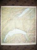 Harta Cantonului Elvetian Vaud 1943 Ed. Payot Lausanne 67,5 x 63 cm