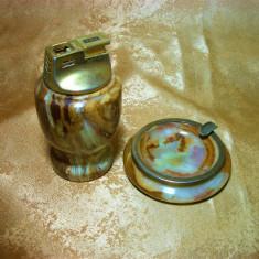 Set bricheta, scrumiera birou, onix, alama, colectie, cadou, vintage - Tutungerie