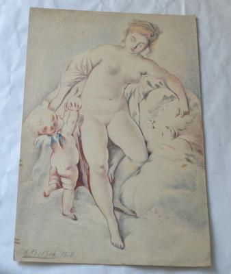 """A Pischer """"Nud"""" desen creioane colorate 1928 foto"""