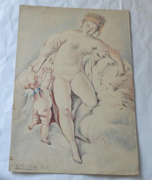 "A Pischer ""Nud"" desen creioane colorate 1928 foto mare"