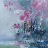 Tablou ulei (15/15 cm-PRIMAVARA - Pictor roman, Flori, Impresionism