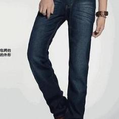 Blugi pentru barbati, 100% bumbac, calitate superioara - Blugi barbati, Marime: 34, Culoare: Albastru, Lungi, Cu aplicatii
