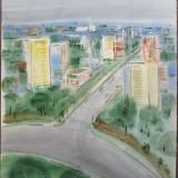 Bucuresti - semnat ilizibil si datat - Pictor roman, Peisaje, Acuarela, Altul