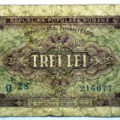 228 ROMANIA RPR 3 LEI 1952 SR. 077