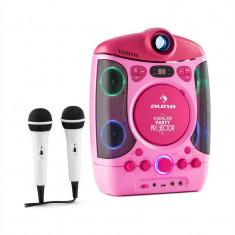 Auna KARA PROJECTURA, sistem karaoke cu proiector, spectacol de lumini cu LED-uri, roz - Echipament karaoke