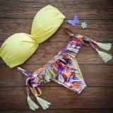 Costum de baie cu push up si slip brazilian cu ciucuri, Galben, Multicolor, Doua piese, M, S/M