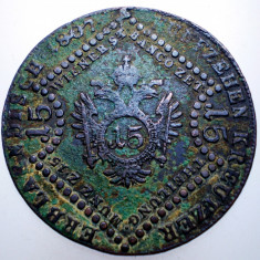 E.376 AUSTRIA TRANSILVANIA FRANZ I 15 KREUZER 1807 G BAIA MARE, Europa, Cupru (arama)