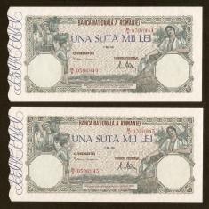 ROMANIA - 100.000 ( 100000 ) lei - Mai 1947 UNC, 2 bucati consecutive - Bancnota romaneasca, An: 1906