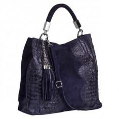 Brastini La Francesca piele geanta pe umar albastru inchis - Geanta Dama