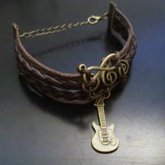Bratara unisex barbati/ femei piele si metalic - stil muzical - Bratara piele