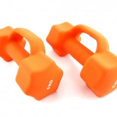 Set de 2 gantere din neopren 2 x 5 kg - cu manere suplimentare - Noi, Greutate (kg): 10