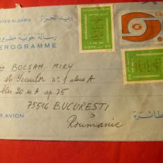 Aerograma Algeria cu 1,20 marca fixa+2x0,10-timbre 1975, circ.la Bucuresti