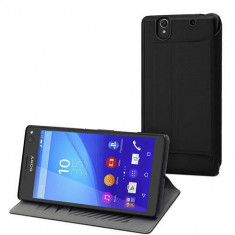 Husa Flip Cover Muvit SESLI0138 Agenda MFX Ultra Slim Negru pentru SONY Xperia C4 - Husa Telefon