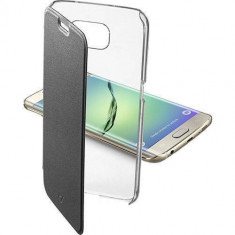 Husa Flip Cover Cellularline CLEARBOOPHS6EPLK Agenda BI-COMPONENT Negru pentru Samsung Galaxy S6 Edge Plus - Husa Telefon