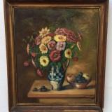 Natura statica cu flori si fructe - Pictor roman, Scene gen, Ulei, Impresionism