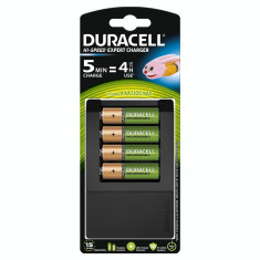 Incarcator acumulator Duracell CEF15 + Duracell acumulatori AAK4 1300mAh Negru/Verde - Baterie Aparat foto
