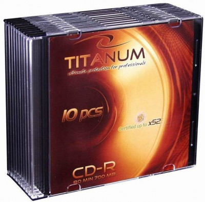 Mediu optic Esperanza CD-R TITANUM 700MB 52x slim jewel case 10 bucati foto