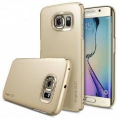 Husa Protectie Spate Ringke Slim Royal Gold + Bonus folie protectie display pentru Samsung Galaxy S6 Edge Plus - Husa Telefon Ringke, Plastic, Carcasa