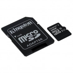 Card Kingston microSDHC 16GB Clasa 10 UHS-I 45MBs cu adaptor SD - Card memorie