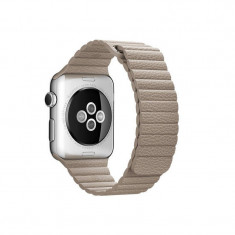 Curea smartwatch Apple Watch 42mm Stone Leather Loop Medium