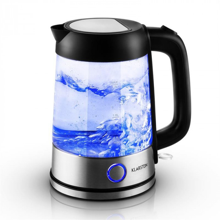 Klarstein Deep Blue ceainic 1,7 l 2200W albastru cu LED-uri de iluminat foto mare