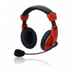 Casti Vakoss Over-Head MSONIC MH536R Red, Casti Over Ear, Cu fir, Mufa 3, 5mm