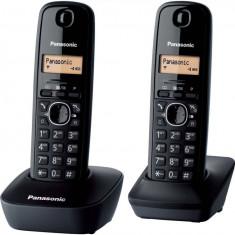 Telefon fara fir DECT Twin Panasonic KX-TG1612FXH cu 2 receptoare Caller ID Negru - Telefon fix