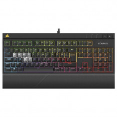 Tastatura gaming mecanica Corsair STRAFE RGB Cherry MX Silent EU - Tastatura PC Corsair, Cu fir, USB