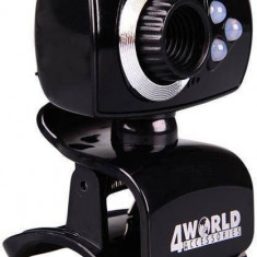 Camera web 4World 2 Mpx USB 2.0 iluminareLED cu microfon black - Webcam