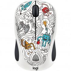 Mouse wireless Logitech M238 Doodle Collection, Fara fir, Optic, 1000 DPI, Techie White, Optica, 1000-2000