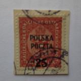 POLONIA = STAMPILAT PE FRAGMENT DE HIRTIE