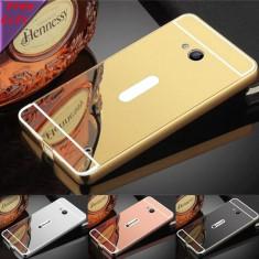 Husa / Bumper Rama Aluminiu + Spate Oglinda Pentru Microsoft Lumia 950 & 640 - Husa Telefon Microsoft, Auriu, Metal / Aluminiu, Fara snur, Carcasa