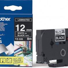 Ribbon Brother TZE335 TAPE 12mm White/Black - Cartus imprimanta