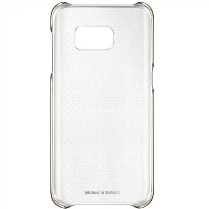 Capac protectie spate Samsung Clear Cover pentru Galaxy S7 G930 Auriu foto mare