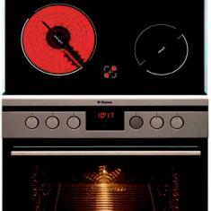 Pachet Hansa BCCI64195055 Cuptor Electric 66 Litri 8 functii Timer Inox + Plita Electrica 4 zone de gatit Neagra