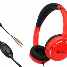 Casti Sandberg Home'n Street Headset Red, Casti On Ear, Cu fir, Mufa 3, 5mm