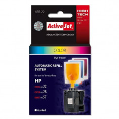 Sistem Kit automat de refill ActiveJet color pentru HP 22 HP 28 HP 57 - Kit refill imprimanta