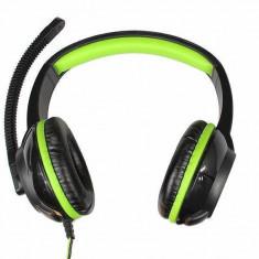 Casti Mediatech Purus MT3564 Black Green, Casti Over Ear, Cu fir, Mufa 3, 5mm