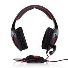 Casti Modecom MC-830 Patriot Black, Casti Over Ear, Cu fir, Mufa 3, 5mm