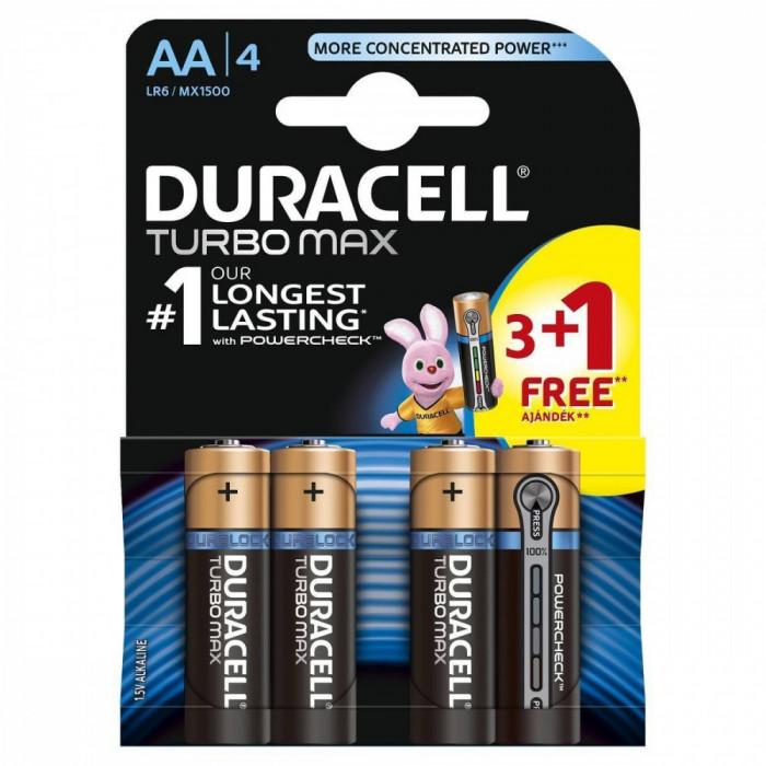 Baterie Duracell Turbo Max AA LR06 3+1 gratis Negru foto mare