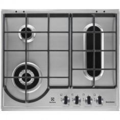 Plita Electrolux EGH6349BOX 60 cm 4 arzatoare gaz Aprindere electrica Argintiu - Plita incorporabila Electrolux, Numar arzatoare: 4