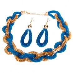 Set cu cercei și colier, lanț gros împletit, plasă albastră cu mărgele